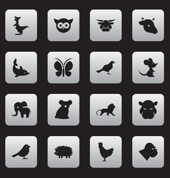 set of 16 editable zoology icons includes symbols vector image vector image
