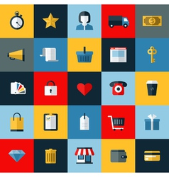 Set of flat online shopping and e-commerce icons vector