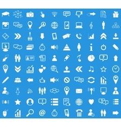 Social media white icon set vector