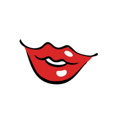 softly smiling female mouth with red lips vector image