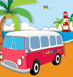 Summer theme with van on the beach vector image