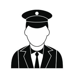 Train conductor black simple icon vector