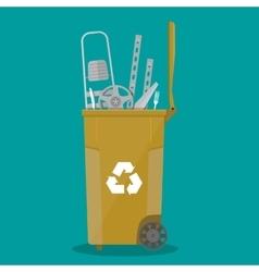 trash recycle bin for garbage full of metal things vector image