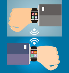 Two hands with a smart watch displaying a web vector