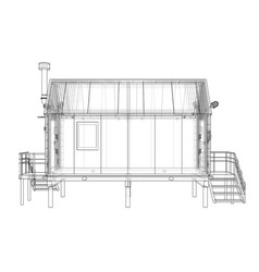 Wire-frame industrial building vector