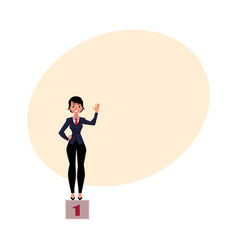 Young pretty businesswoman standind on pedestral vector