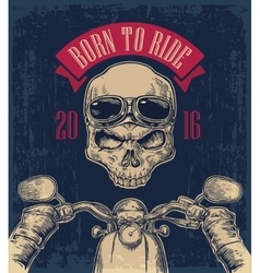 Biker driving a motorcycle rides and skull with vector