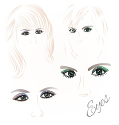 Females eyes green and blue vector