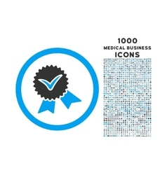 Validation Seal Rounded Icon with 1000 Bonus Icons vector image
