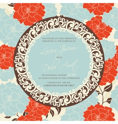 Wedding invitation card with flowers vector