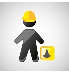Man silhouette helmet and cone design graphic vector