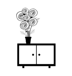 Monochrome cabinet with pot and flowers vector