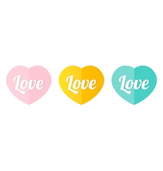 Cute decorative colorful heart icons vector