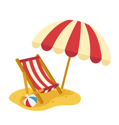Wooden beach chaise with umbrella vector