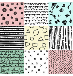 Set of abstract seamless patterns of lines vector