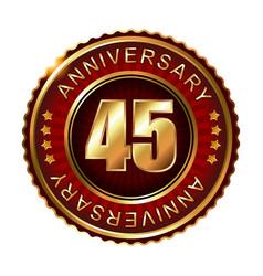 45 years anniversary golden label vector