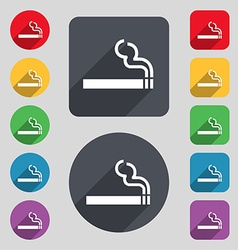 Cigarette smoke icon sign a set of 12 colored vector