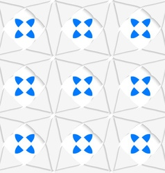 White geometrical ornament with triangles and blue vector