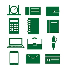 Set of icons with elements of business and office vector