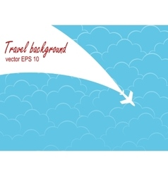 Plane silhouette against the sky with clouds vector