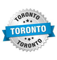 Toronto round silver badge with blue ribbon vector