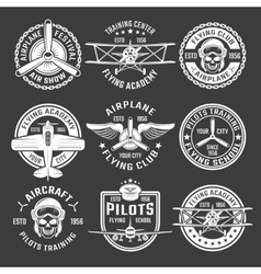 White color airplane emblem set vector