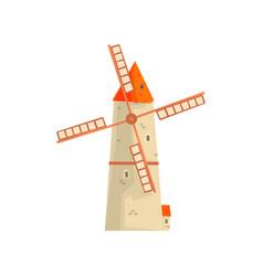 ancient windmill medieval stone building cartoon vector image vector image