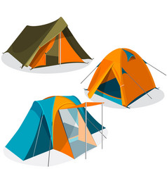awning tourist camping tents icons collection vector image vector image