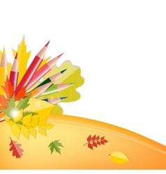 Back to School Background with Leaves and Pencils vector image