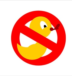 Banning sign Yellow rubber duck for bathing vector image vector image