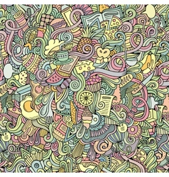 Cartoon doodles food seamless pattern vector image vector image