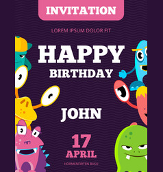 Children happy birthday invitation card vector