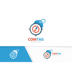 Compass and tag logo combination vector