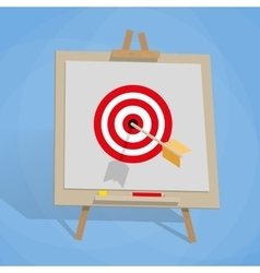 Flip chart with target and arrow vector
