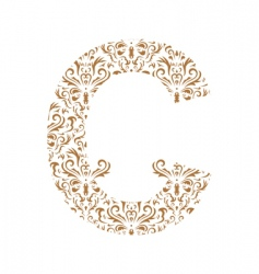 floral letter c ornament font vector image