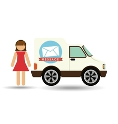 Girl cartoon mail car icon design vector