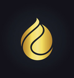 Gold bio gas droplet logo vector