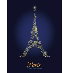 Golden Floral Lace Glowing Eiffel Tower vector image vector image