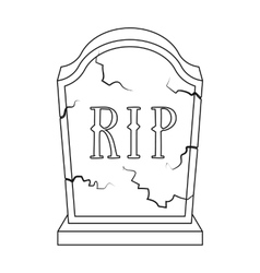 Headstone icon in outline style isolated on white vector