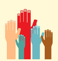 leadership concept multicolored hands up vector image