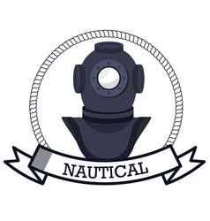 nautical frame with ship vector image