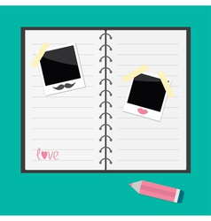 Notepad with spiral lined paper instant photo vector