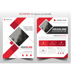 Red square business brochure leaflet flyer annual vector