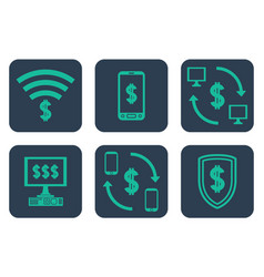 Set of icons about online payments with cifrao vector
