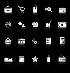 Shopping icons with reflect on black background vector image