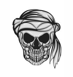 skull with bandana vector image vector image