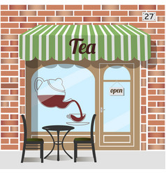 Tea shop facade vector