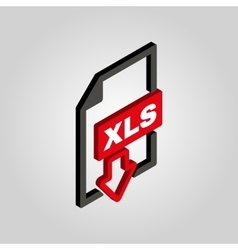 The XLS icon3D isometric file format symbol Flat vector image