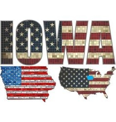 Usa state of iowa on a brick wall vector