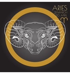 Zodiac sign Aries on black background vector image